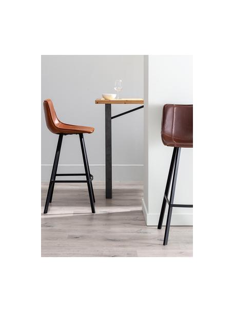 Krzesło barowe ze sztucznej skóry Bart, Tapicerka: sztuczna skóra (poliureta, Stelaż: drewno warstwowe, Nogi: metal powlekany, Brązowy, czarny, S 48 x W 106 cm