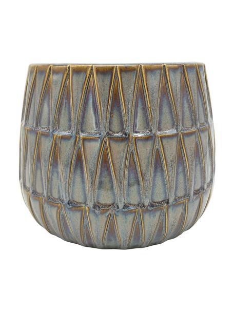 Übertopf Nomad aus Keramik, Keramik, Braun, Blau, Ø 19 x H 15 cm