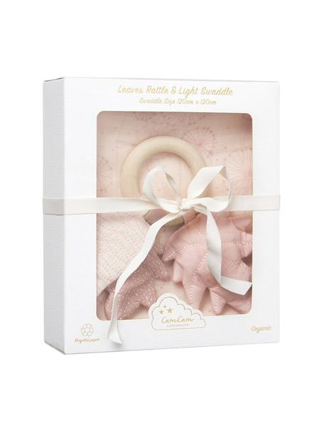 Komplet prezentowy z bawełny organicznej Dandelion, 2 elem., Tapicerka: 100% bawełna organiczna, Blady różowy, S 18 x W 21 cm