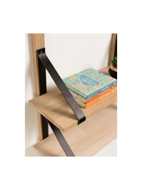 Houten wandrek Nazeli met leren houders, Zwart, bruin, 60 x 60 cm