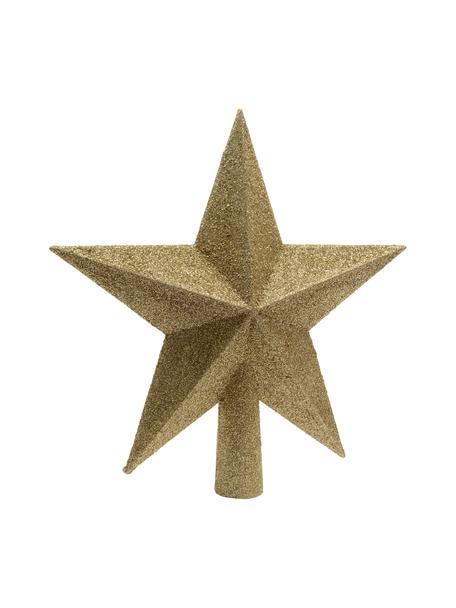 Bruchsichere Weihnachtsbaumspitze Stern Ø 19 cm, Kunststoff, Glitzer, Goldfarben, Ø 19 cm