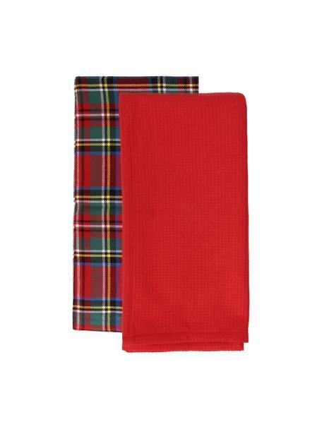 Geruite katoenen theedoekenset Dublino, 2-delig., 90% katoen, 10% polyester, Rood, multicolour, 50 x 70 cm
