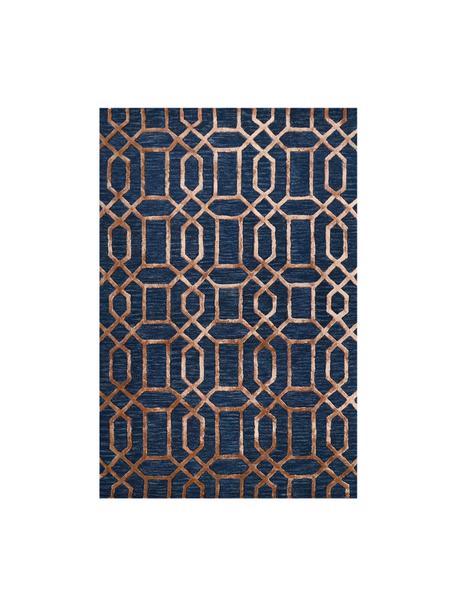 Alfombra artesanal de lana Vegas, Parte superior: 80%lana, 20%viscosa, Reverso: 100%algodón Las alfombra, Azul oscuro, marrón, An 120 x L 185 cm (Tamaño S)