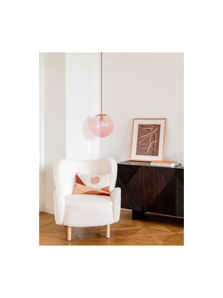 Hanglamp Bao van glas, Lampenkap: glas, Baldakijn: gegalvaniseerd metaal, Roze, Ø 35 cm