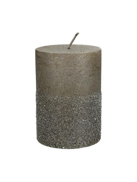Vela pilar Glitters, Cera, Gris, Ø 7 x Al 10 cm