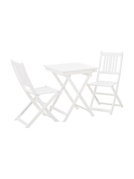 Muebles de madera de acacia para exterior Skyler, 3pzas., Blanco, Set de diferentes tamaños