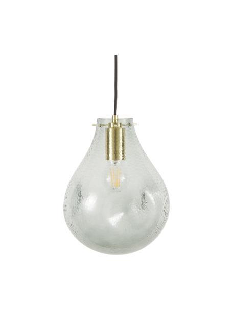 Lámpara de techo pequeña de vidrio Kedu, Pantalla: vidrio, Anclaje: metal galvanizado, Cable: cubierto en tela, Gris, Ø 23 x Al 29 cm