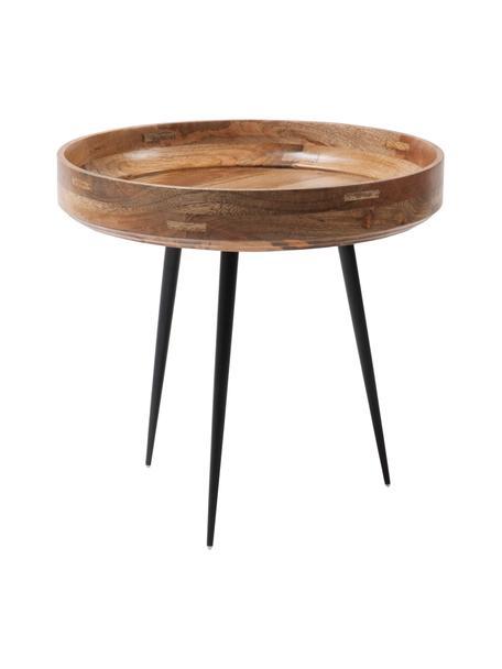 Tavolino in legno di mango Bowl Table, Piano d'appoggio: legno di mango, verniciat, Gambe: acciaio, verniciato a pol, Legno di mango, nero, Ø 40 x Alt. 38 cm