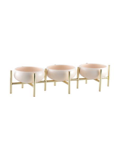 Set de cuencos Paradise, 3uds., Estructura: metal recubierto, Cuencos: porcelana, Dorado, beige claro, An 36 x Al 8 cm