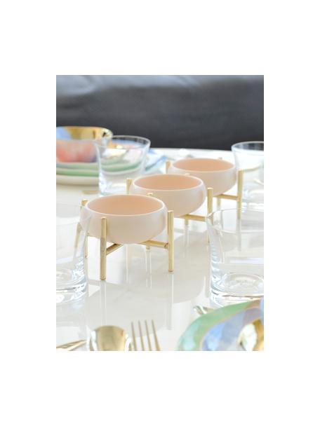 Set 3 ciotole beige con supporto dorato Paradise, Struttura: metallo rivestito, Dorato, beige chiaro, Larg. 36 x Alt. 8 cm