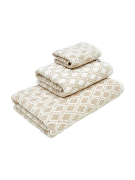 Dubbelzijdige handdoekenset Ava, 3-delig, 100% katoen, middelzware kwaliteit, 550 g/m², Zandkleurig, crèmewit, Set met verschillende formaten