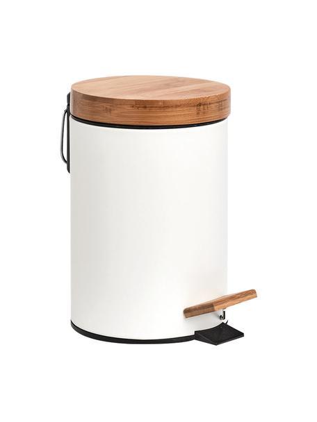 Afvalemmer Tallin, Deksel: bamboe, Wit, Ø 17 x H 24 cm
