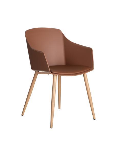 Sedia in plastica Jimena, Seduta: materiale sintetico (PP), Seduta: similpelle, Piedini: metallo verniciato, Marrone chiaro, Larg. 56 x Prof. 55 cm