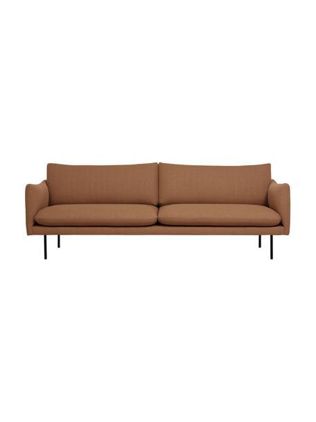 Sofa Moby (3-Sitzer) in Nougat mit Metall-Füßen, Bezug: Polyester Der hochwertige, Füße: Metall, pulverbeschichtet, Webstoff Nougat, B 220 x T 95 cm