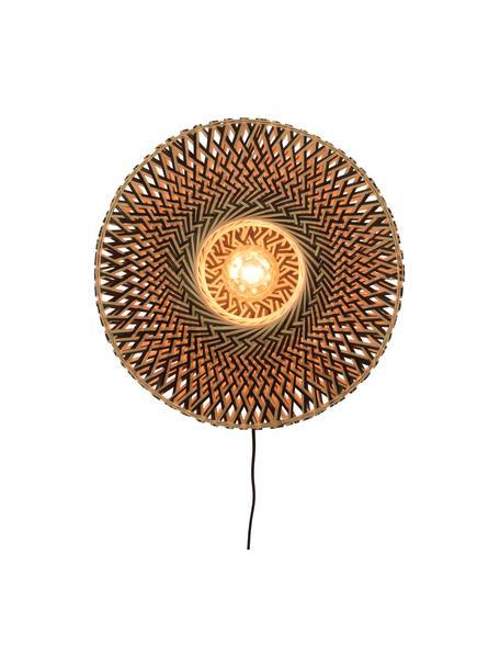 Wandleuchte Bali mit Stecker, Lampenschirm: Bambus, Beige, Schwarz, Ø 44 x H 44 cm