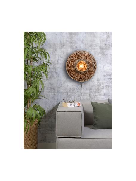 Applique con spina Bali, Paralume: bambù, Beige, nero, Ø 44 x Alt. 44 cm
