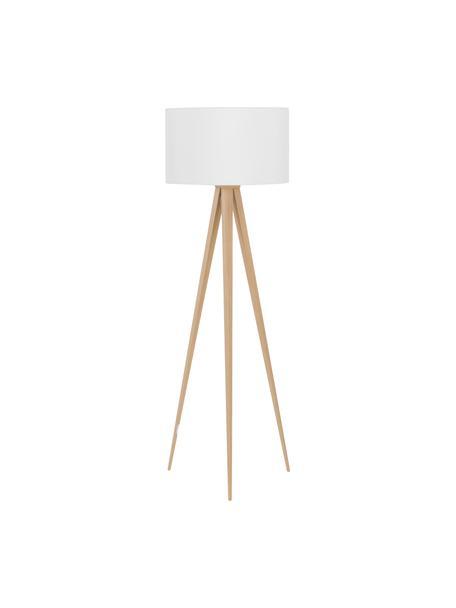 Tripod vloerlamp Jake met houten voet, Lampenkap: katoen, Lampvoet: metaal met houtfineer, Lampenkap: wit. Lampvoet: houtkleurig, Ø 50 x H 154 cm