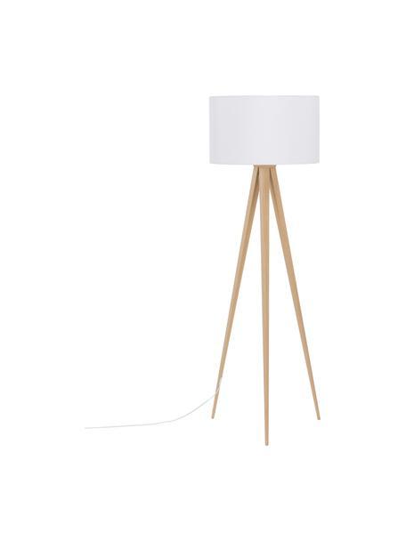 Scandi-Tripod vloerlamp Jake, Lampenkap: katoen, Lampvoet: metaal met houtfineer, Lampenkap: wit. Lampvoet: houtkleurig, Ø 50 x H 154 cm