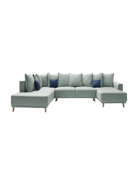 Sofá cama rinconero grande Mola, con espacio de almacenamiento, Tapizado: poliéster, Verde, An 324 x F 215 cm