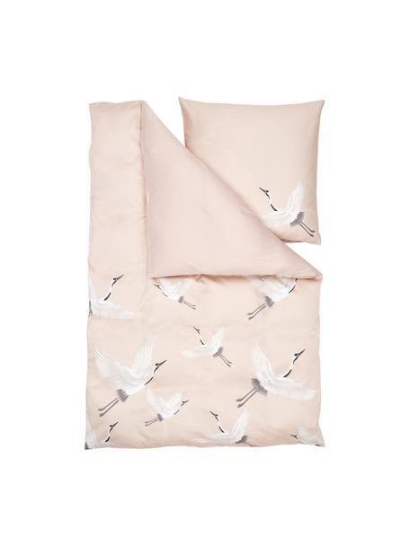 Pościel z satyny bawełnianej Yuma, Blady różowy, biały, szary, 135 x 200 cm + 1 poduszka 80 x 80 cm
