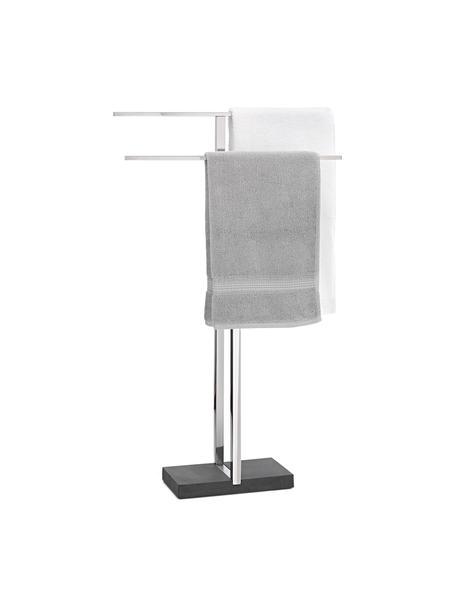 Handdoekenhouder Menoto van metaal, Houder: edelstaal, Voetstuk: kunststeen, Zwart, glanzend zilverkleurig, 50 x 86 cm