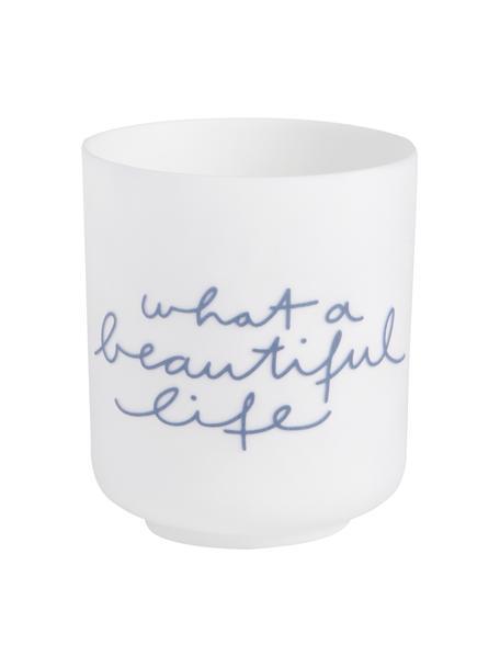 Porzellan-Teelichhalter Poem in Weiß/Blau, Porzellan, Weiß, Blau, Ø 6 x H 7 cm
