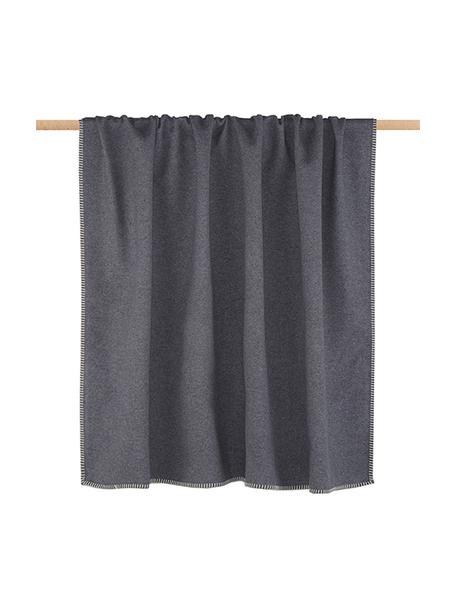 Zachte plaid Sylt in grijs met stiksels, Weeftechniek: jacquard, Grijs, 140 x 200 cm