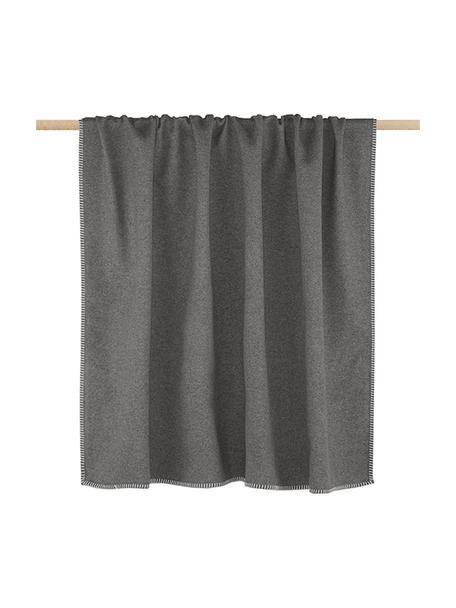 Katoenen plaid Sylt in grijs met stiksels, Weeftechniek: jacquard, Grijs, 140 x 200 cm