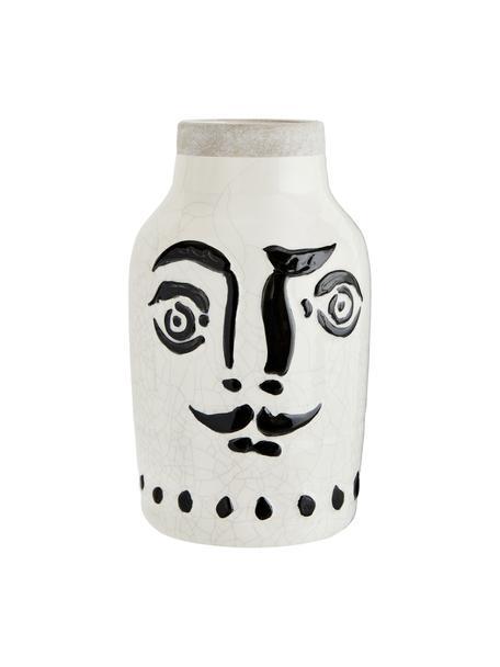 Vaso motivo viso con smalto craquelé Face, Gres, Bianco, nero, Ø 16 x Alt. 28 cm