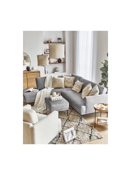 Poggiapiedi da divano in velluto grigio chiaro Fluente, Rivestimento: velluto (rivestimento in , Struttura: legno di pino massiccio, Piedini: metallo verniciato a polv, Velluto grigio chiaro, Larg. 62 x Alt. 46 cm