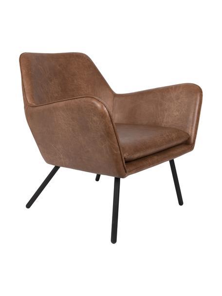 Kunstleren lounge fauteuil Bon in industrieel design, Bekleding: kunstleer (64% polyuretha, Poten: gelakt metaal, Bekleding: bruin, gestructureerd Poten: zwart, B 80 x D 76 cm