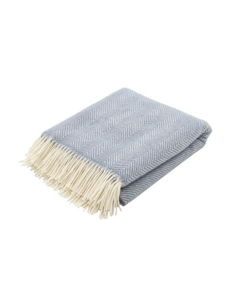 Coperta in lana color blu con motivo a spina di pesce e frange Triol-Mona, 100% lana, Blu, Larg. 140 x Lung. 200 cm