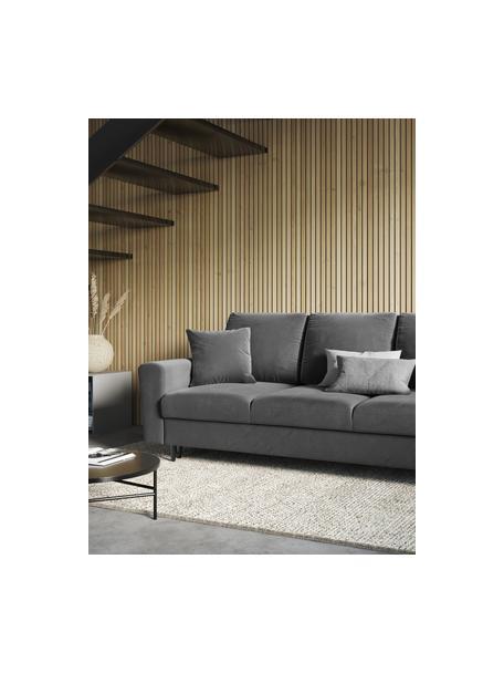 Sofa rozkładana z aksamitu z miejscem do przechowywania Moghan (3-osobowa), Tapicerka: aksamit poliestrowy Dzięk, Stelaż: lite drewno sosnowe, skle, Nogi: metal lakierowany, Szary, czarny, S 235 x G 100 cm