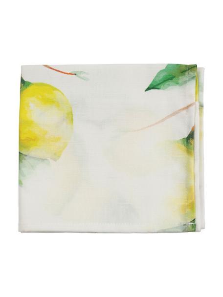 Stoff-Servietten Citron mit Zitronenmotiven, 4 Stück, 100% Baumwolle, Gebrochenes Weiss, Gelb, Grün, 35 x 35 cm