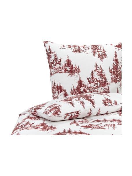 Flanell-Bettwäsche Nordic mit winterlichem Motiv in Rot/Weiß, Webart: Flanell Flanell ist ein k, Rot, Weiß, 135 x 200 cm + 1 Kissen 80 x 80 cm