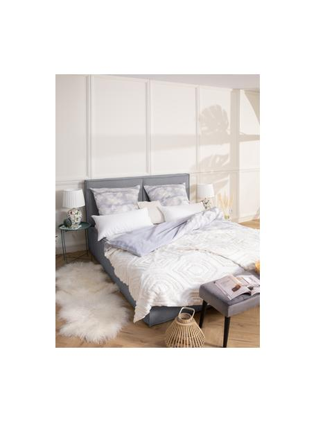 Letto imbottito in tessuto grigio scuro con testiera Dream, Rivestimento: 100% poliestere Il rivest, Tessuto grigio scuro, 140 x 200 cm