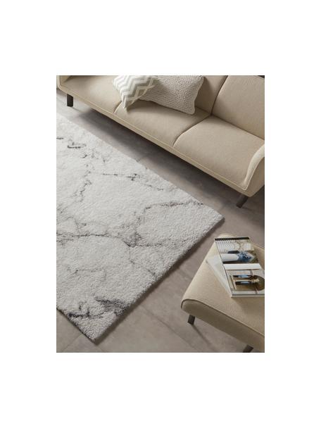 Flauschiger Hochflor-Teppich Mayrin mit marmoriertem Muster, Flor: 100% Polypropylen, Cremefarben, Grau, B 200 x L 290 cm (Größe L)