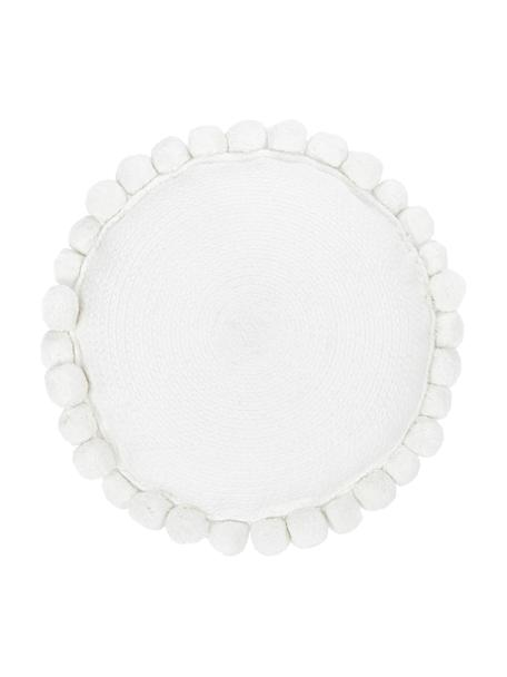 Cojín decorativo con pompones Deva, Funda: 100%algodón, Blanco, Ø 40 cm