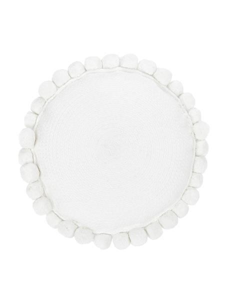 Decoratief kussen Deva met pompoms in wit, Wit, Ø 40 cm