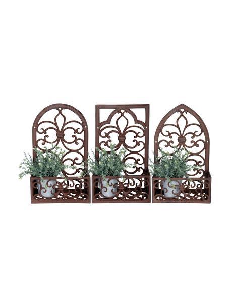 Wandplantenpottenhouderset Classic, 3-delig, Gecoat metaal, Bruin, 28 x 44 cm
