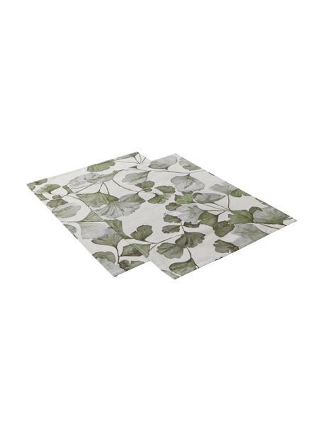 Placemats Gigi met ginkgo bladmotief, 2 stuks, 100% katoen, Beige, groen, 35 x 45 cm