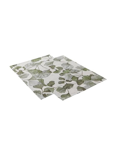 Podkładka z bawełny Gigi, 2 szt., 100% bawełna, Beżowy, zielony, S 35 x D 45 cm