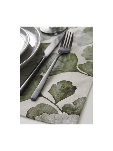 Manteles individuales de algodón Gigi, 2uds., 100%algodón, Beige, verde, An 35 x L 45 cm