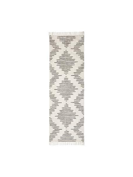Handgeweven boho katoenen loper Lines met franjes, 100% katoen, Beige, zwart, 80 x 250 cm