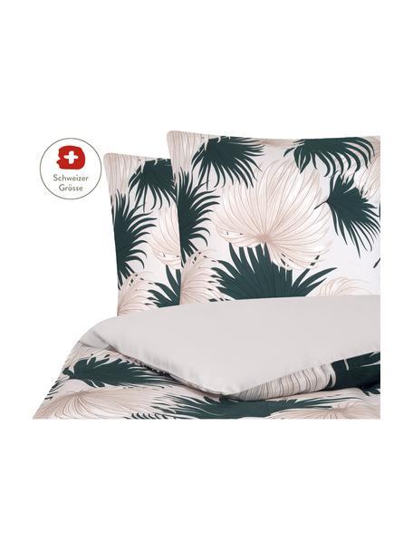 Baumwollsatin-Bettdeckenbezug Aloha mit Palmenblättern, Webart: Satin Fadendichte 210 TC,, Vorderseite: Beige, Grün Rückseite: Beige, 200 x 210 cm