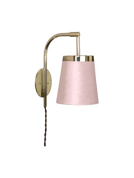 Aplique de terciopelo Walther, con enchufe, Fijación: latón, Pantalla: terciopelo, Cable: cubierto en tela, Latón, rosa, An 14 x Al 25 cm