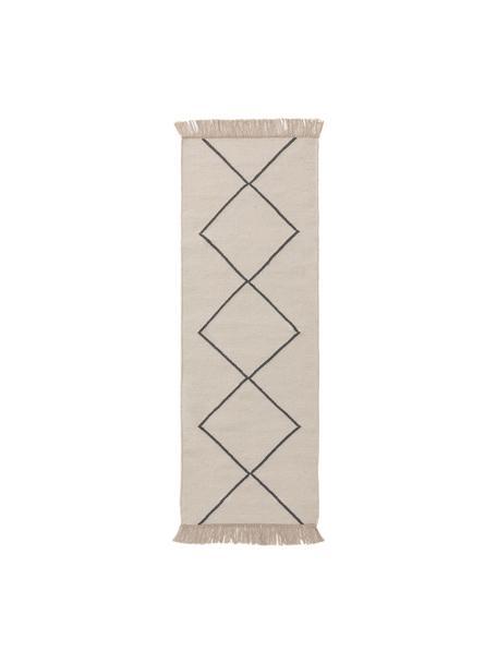 Alfombra kilim artesanal Vince, 90%lana, 10%algodón Las alfombras de lana se pueden aflojar durante las primeras semanas de uso, la pelusa se reduce con el uso diario, Marfil, gris oscuro, An 70 x L 200 cm