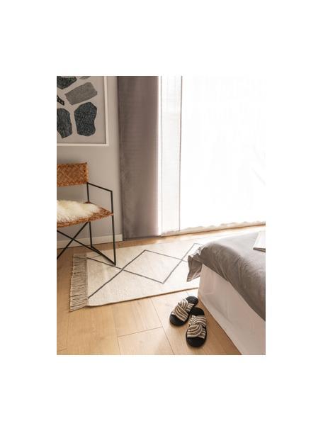 Ręcznie tkany kilim-chodnik Vince, 90% wełna, 10% bawełna Włókna dywanów wełnianych mogą nieznacznie rozluźniać się w pierwszych tygodniach użytkowania, co ustępuje po pewnym czasie, Kość słoniowa, ciemny szary, S 70 x D 200 cm