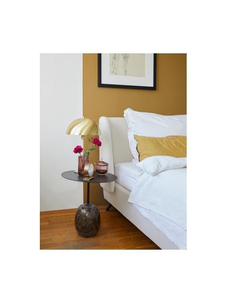 Gestoffeerd bed Madonna met hoofdeinde in beige, Frame: massief grenenhout, Poten: gepoedercoat metaal, Bekleding: polyester (gestructureerd, Geweven stof beige, 160 x 200 cm