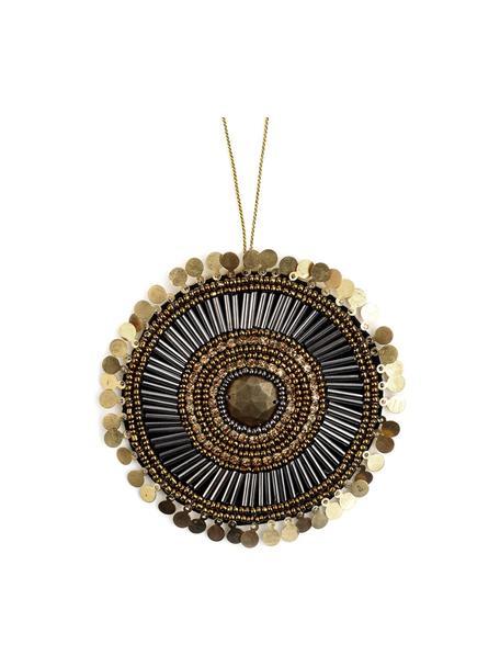Handgemaakte geschenklabel Gidoro, 60% glazen kralen, 20% metaal, 20% polyester, Beige, goudkleurig, zwart, glanzend, Ø 10 cm